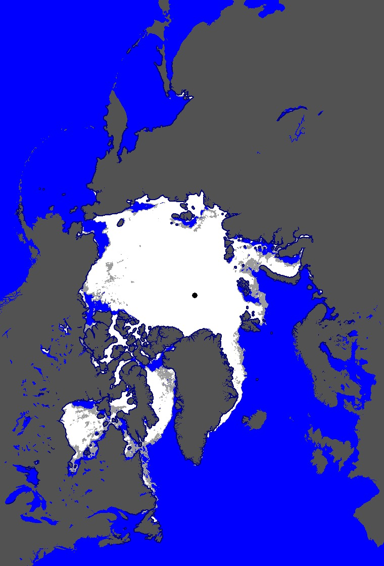 Arctic Ocean: Map of Ice concentration for Yesterday